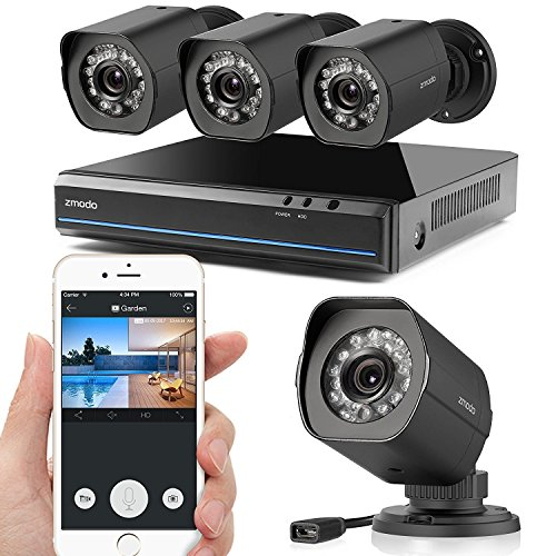 Zmodo 1080X720P HD Simplified PoE Security Camera System - 4 Channel HDMI  Intelligent Video Recorder 4 Outdoor and Indoor IP Cameras with Motion